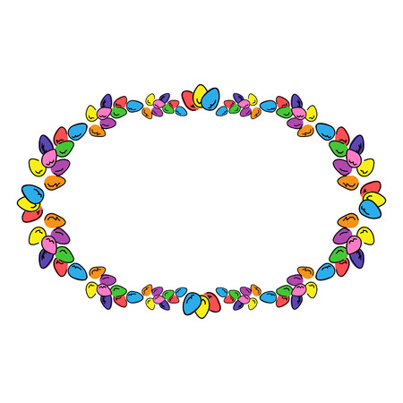 Easter eggs colored oval photo frame. Multicolored bright border to design greeting cards. Illustration