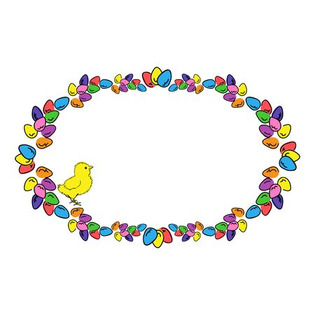Easter eggs and chicken colored oval photo frame.