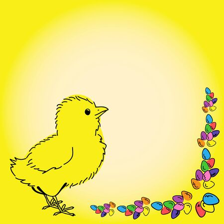 Easter design, chicken and easter eggs, colorful background.