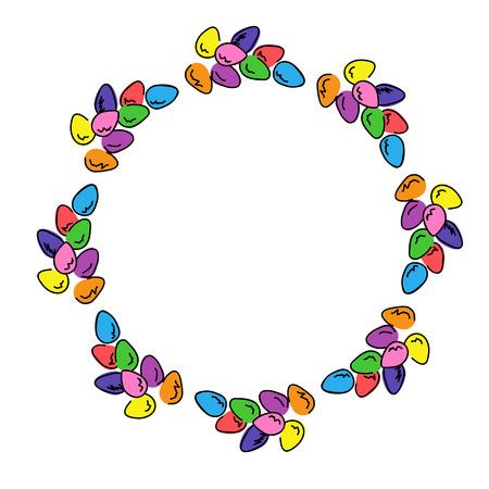 Les oeufs de Pâques colorés cadre photo ronde. Multicolores frontière claire pour concevoir des cartes de v?ux. Banque d'images - 69937527