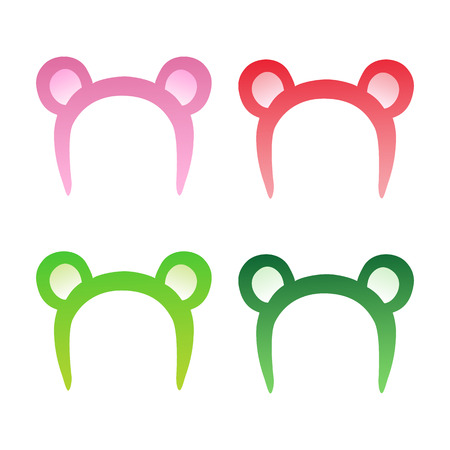 Bear ears mask pink, red and green, decoration on the head.