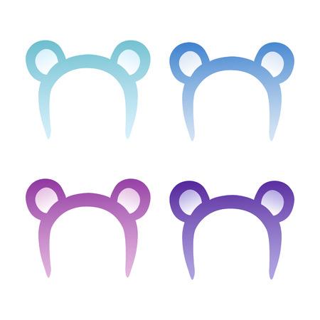 Bear ears mask blue, indigo, lilac and purple, decoration on the head. Illustration