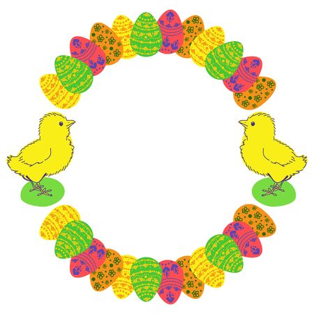 Easter eggs and chicken colored round photo frame. Illustration