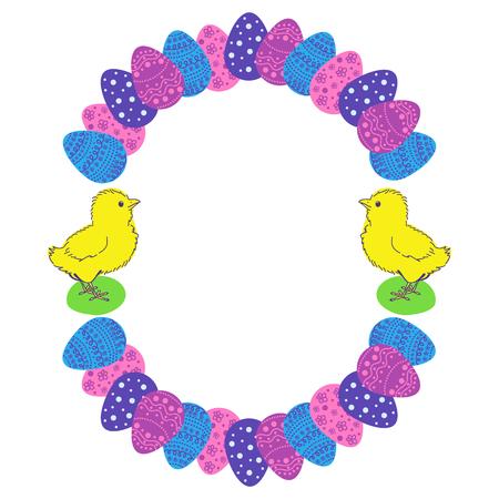 Oeufs de Pâques et le poulet de couleur cadre photo rond. Banque d'images - 69937603