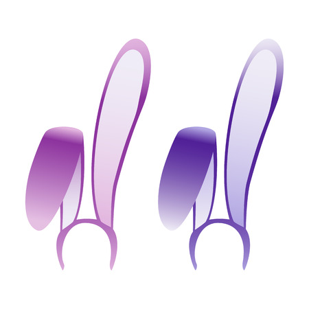 headband: Bunny ears mask lilac and purple, decoration on the head Illustration