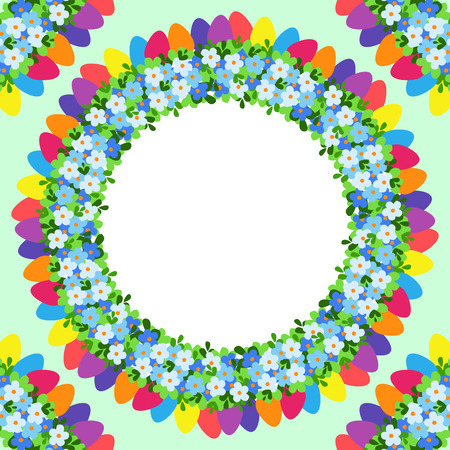 Easter eggs colored round photo frame with flowers.