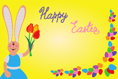 Easter eggs and bunny. Colorful seamless border.