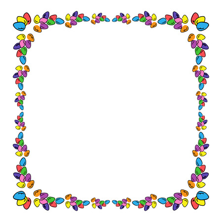 Easter eggs colored square photo frame. Multicolored bright border to design greeting cards.