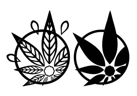 promotional products: Cannabis black silhouette logo. Hemp asymmetrical icons. Sign T-shirts for design, creating corporate identity and promotional products.