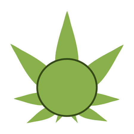 promotional products: Cannabis green silhouette logo. Hemp symmetrical icons. Sign T-shirts for design, creating corporate identity and promotional products.
