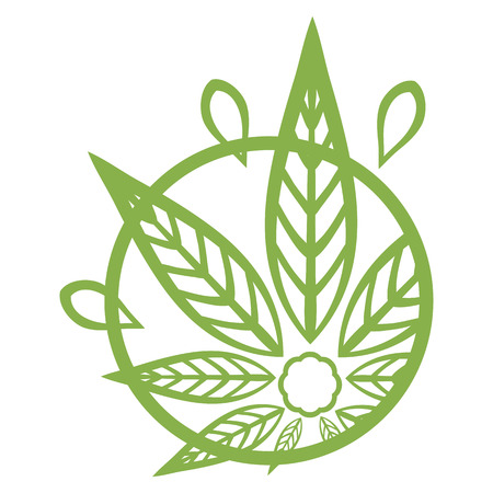 promotional products: Cannabis green silhouette logo. Hemp asymmetrical icons. Sign T-shirts for design, creating corporate identity and promotional products.