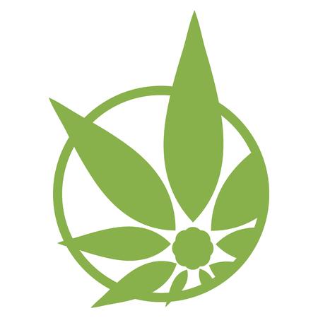 Cannabis logo vert silhouette. Chanvre icônes asymétriques. Inscrivez-vous T-shirts pour la conception, la création de l'identité d'entreprise et des produits promotionnels. Logo