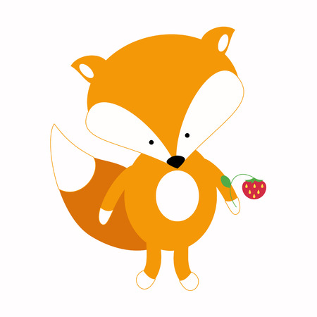 Little cute fox in a simple flat style design for childrens products.