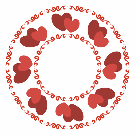 Round frame with stylized red heart and winding elements. Decorative element for design for weddings, Valentines Day, parties for young people. Illustration