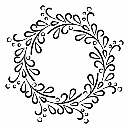 Round contour elegant frame of smooth lines in the form of stylized branches and leaves. Simple decor of floral elements in a flat style.
