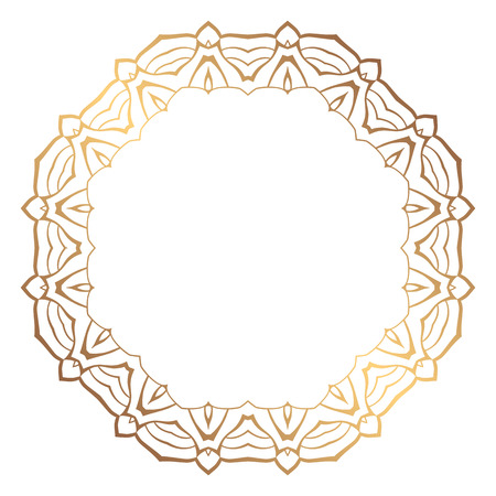 Round golden frame in vintage style of flowing lines. Border for decoration postcards, logos, banners, clearance of goods and promotional products.