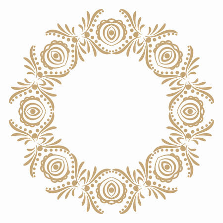 Round frame with folk pattern and flower buds. Border for decoration postcards, logos, banners, clearance of goods and promotional products. Illustration