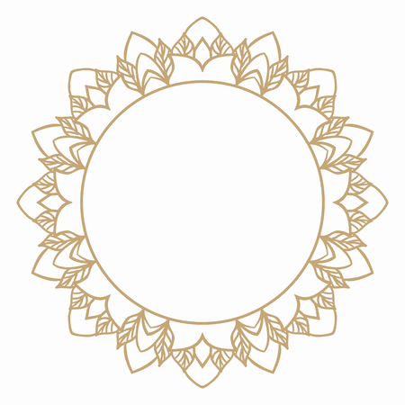 Round frame in vintage style of stylized leaves. Border for decoration postcards, logos, banners, clearance of goods and promotional products.