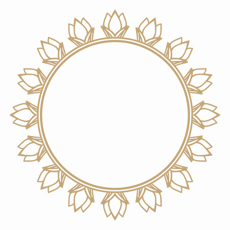 Round frame from the stylized flower buds. Border for decoration postcards, logos, banners, clearance of goods and promotional products. Illustration