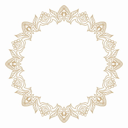 vegetal: Round frame in vintage style of stylized vegetal elements. Border for decoration postcards, logos, banners, clearance of goods and promotional products.