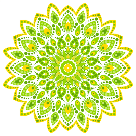 Bright circular ornament consists of simple shapes. Stylized ethnic motive. Mandala in light green and yellow color scheme.