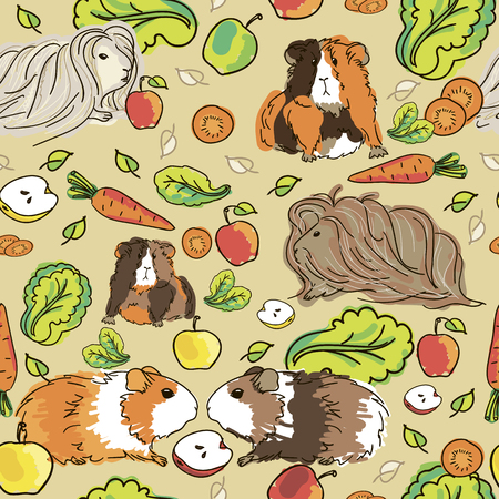 Seamless pattern with guinea pigs. Background with pets and food.
