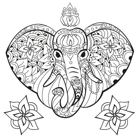Elephant in doodle style. Coloring page anti-stress for adults and children. Animals Zen.
