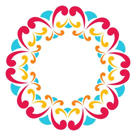 Round frame of colorful curls. Border for registration albums, greeting cards, yoga design.