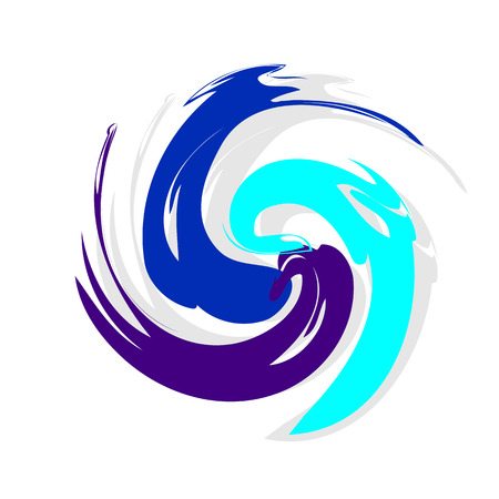Abstract swirling template for a logo consisting of three brush strokes. Blobs for creating banners, design of products, posters and flyers. Twisted icon. Dynamic symbol in blue and turquoise. Illustration
