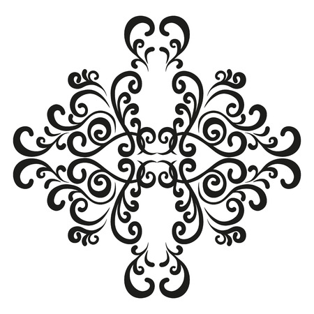 Vignette. Element of twisted woven lines to create a damask ornament. Illustration