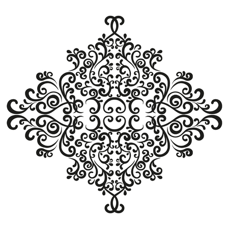 Vignette. Mirror-symmetric decor element for creating a design in vintage style. Baroque ornament. Illustration