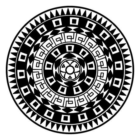 Round pattern in the Greek style. Rosette of geometric elements. Stencil Tattoo and prints. Illustration