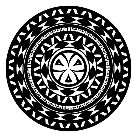 ceiling plate: Geometric pattern of meanders. Composite decorative element of the circles with ornaments. Stencil Tattoo and prints. Illustration
