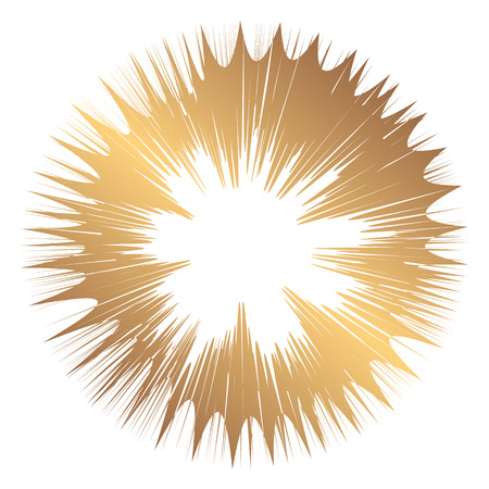 Abstract wide round gold frame. Template for creating icons, logos. Grunge element for the design of posters and flyers. Illustration