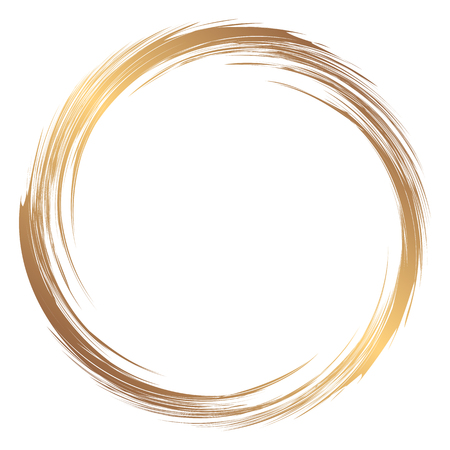Round gold abstract frame. Element for creating posters, flyers, logos. Illustration