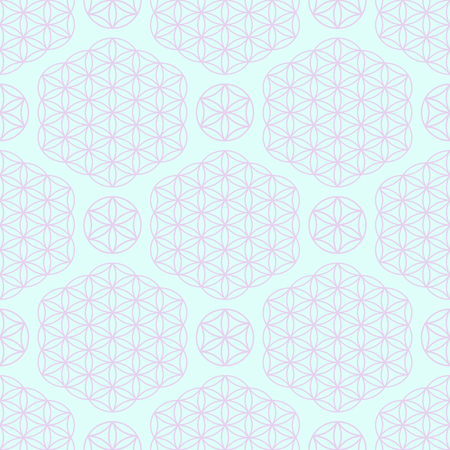 Blue Seamless pattern with lilac ornament on a turquoise background with the image of the sacred symbol of the Flower of Life.