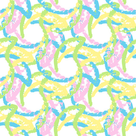sequential: Seamless abstract pattern from large elements of blue, yellow, pink and green. Wallpapers and textiles.