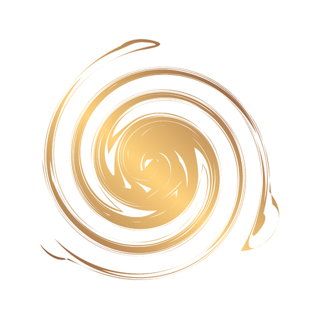 Abstract gold round template for the logo. Blobs for creating banners, design of products, posters and flyers. Twisted icon. Dynamic symbol.