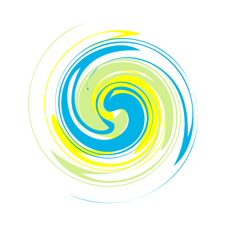Dynamic blue, yellow, green symbol. Abstract grunge round template for the logo. Blobs for creating banners, design of products, posters and flyers. Twisted icon. Illustration