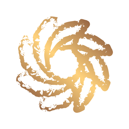 Dynamic gold grunge symbol. Abstract grunge round template for the logo. Blobs for creating banners, design of products, posters and flyers. Twisted icon.