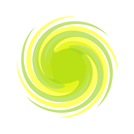 Dynamic yellow, green symbol. Abstract grunge round template for the logo. Blobs for creating banners, design of products, posters and flyers. Twisted icon.