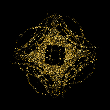 Abstract chaotic rhombus spot with the effect of shine for the creation of advertising posters, leaflets, booklets. Round design element of gold glitter.
