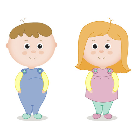 Infants. A boy and a girl. Illustration with two young children in full growth for the design of children's products and clothing.