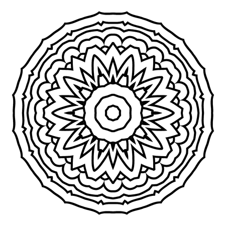 Mandala. Black and white decorative element. Picture for coloring.Abstract circular ornament.