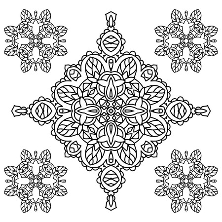 cleanse: Mandala. Black and white diamond-shaped decorative element. Picture for coloring.