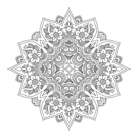 Mandala Schwarz-weißes diamantförmiges dekoratives Element. Bild zum Einfärben. Standard-Bild - 75762440