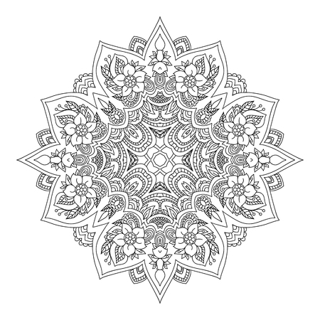 Mandala. Black and white diamond-shaped decorative element. Picture for coloring.
