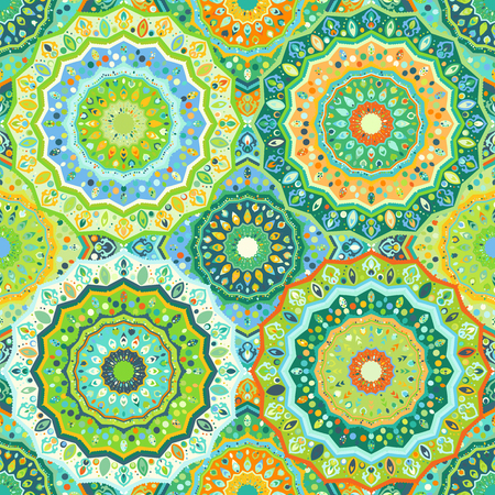 sequential: Seamless pattern imitating a mosaic. Multicolored dynamic background with elements of ornament. Patterns for edible icing sheets for covering cakes.