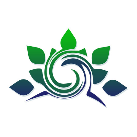 Template for the logo of stylized leaves and spirals. Eco icon. Symbol for the design of the concept of a healthy lifestyle, ecology, natural products.