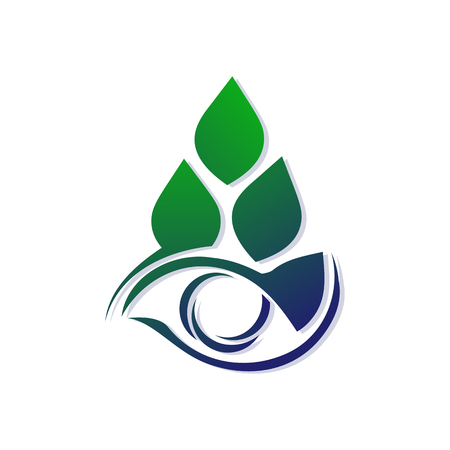 Template for a logo from stylized leaves and eyes. Eco icon. Symbol for the design of the concept of a healthy lifestyle, ecology, natural cosmetics. Illustration